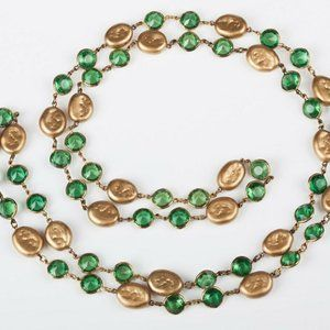 Chanel Faux Golden Coin Pearl and Green Lucite Chi
